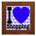I Love Shopping Blue Framed Tile