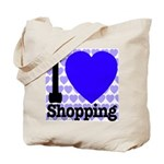 I Love Shopping Blue Tote Bag