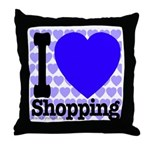 I Love Shopping Blue Throw Pillow