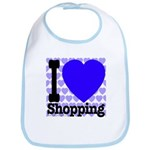 I Love Shopping Blue Bib