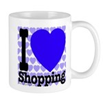 I Love Shopping Blue Mug