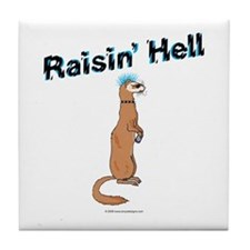 Ferret Tile Coaster - Raisin' Hell