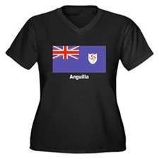 Anguilla Flag Women's Plus Size V-Neck Dark T-Shir