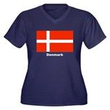 Denmark Danish Flag Women's Plus Size V-Neck Dark