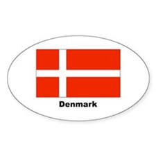 Denmark Danish Flag Oval Sticker (10 pk)