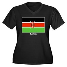 Kenya Kenyan Flag Women's Plus Size V-Neck Dark T-