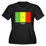 Senegal Flag Women's Plus Size V-Neck Dark T-Shirt
