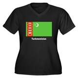 Turkmenistan Flag Women's Plus Size V-Neck Dark T-