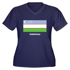 Uzbekistan Flag Women's Plus Size V-Neck Dark T-Sh