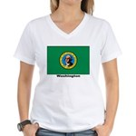 Washington State Flag Women's V-Neck T-Shirt