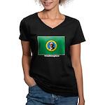 Washington State Flag Women's V-Neck Dark T-Shirt