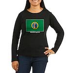 Washington State Flag Women's Long Sleeve Dark T-S