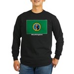 Washington State Flag Long Sleeve Dark T-Shirt