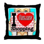 I Love Online Shopping Throw Pillow