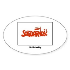 Solidarity Solidarnosc Flag Oval Sticker (10 pk)