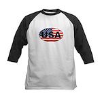 USA Flag in Oval Kids Baseball Jersey