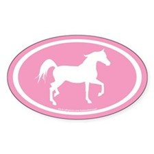 Arabian Horse Oval (wh/pink) Oval Decal