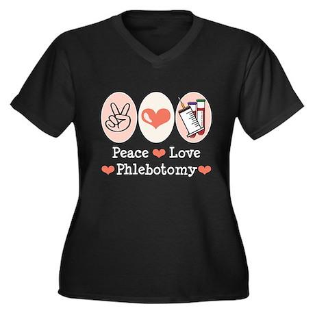 Peace Love Phlebotomy Women's Plus Size V-Neck Dar