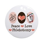 Peace Love Phlebotomy Ornament (Round)