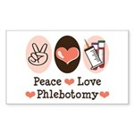 Peace Love Phlebotomy Rectangle Sticker 10 pk)