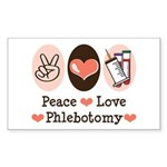 Peace Love Phlebotomy Rectangle Sticker 50 pk)