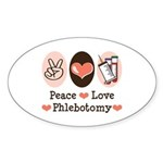 Peace Love Phlebotomy Oval Sticker (50 pk)