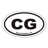 Coral Gables CG Euro Oval Decal