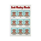 Sock Monkey Moods Rectangle Magnet