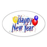 New Years Oval Sticker (10 pk)