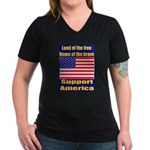 Land of the free home of the Women's V-Neck Dark T