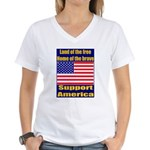 Land of the free home of the Women's V-Neck T-Shir
