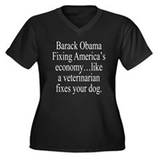 Obama Fixing Economy Women's Plus Size V-Neck Dark