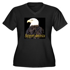 Support America Women's Plus Size V-Neck Dark T-Sh