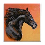 Black Horse Tile Coaster