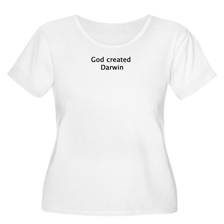 God Created Darwin Women's Plus Size Scoop Neck T-