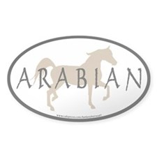 Arabian Horse Text & Oval (tan) Decal