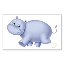Indigo Hippo Rectangle Sticker 50 pk)