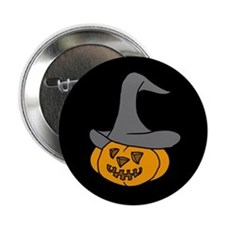 Pumpkin in Halloween Hat Button