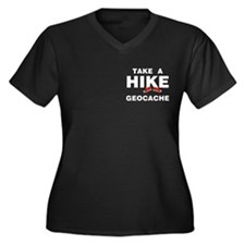 Geocache Hike Pocket Area Women's Plus Size V-Neck