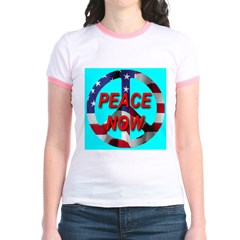Peace Symbol American Flag on Jr. Ringer T-Shirt