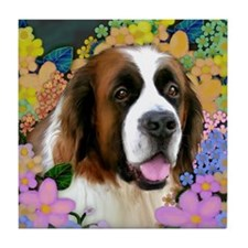SAINT BERNARD DOG GARDEN Tile Coaster