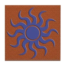 Blue Sun on Brick - Tile Coaster