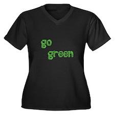 Green Women's Plus Size V-Neck Dark T-Shirt