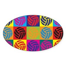 Volleyball Pop Art Oval Decal