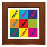 Trumpet Pop Art Framed Tile