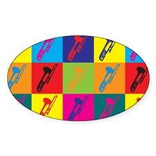 Trombone Pop Art Oval Decal