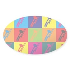 Trombone Pop Art Oval Sticker (10 pk)