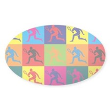 Tennis Pop Art Oval Decal