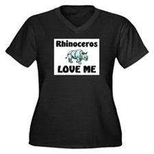 Rhinoceros Love Me Women's Plus Size V-Neck Dark T