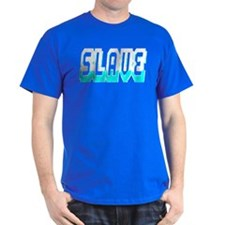 SLAVE-WHITE/TEAL OUTLINE T-Shirt